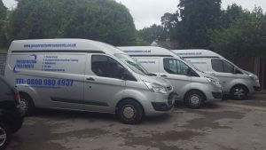 Some of the PTL vans ready for a hard days work.