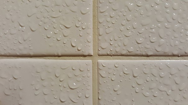 Wet tiles in the bathroom